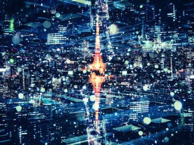 東京タワーのフォトモンタージュ